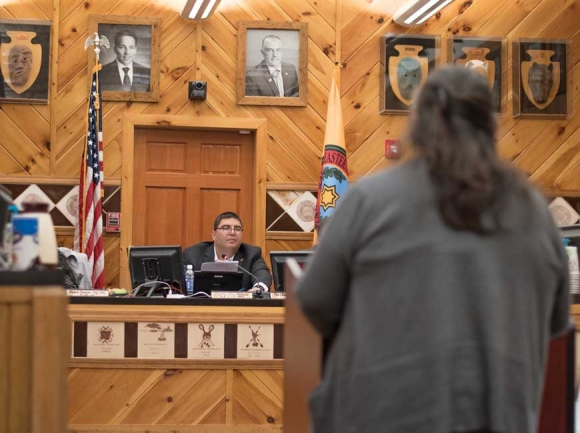 Onita Bush, of Snowbird, asks Chairman Adam Wachacha, also of Snowbird, for time to speak on the alcohol issue. Holly Kays photo