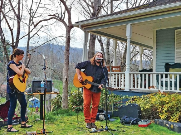 Ellen Cherry and Andrew Grimm at the Twin Maples Farmhouse. Garret K. Woodward photo