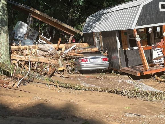 Floodwaters from the raging Pigeon Rived decimated portions of Haywood County on Aug. 17. Scott McLeod photo