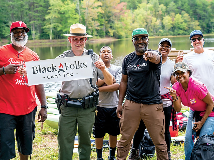 Black Folks Camp Too Founder Earl B. Hunter Jr. joins Crowders Mountain State Park Superintendent Glen George, along with a BFCT adventuring crew. Donated photo
