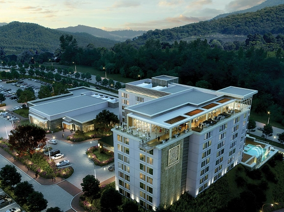 A rendering shows DreamCatcher's vision for the finished 200-room hotel with 12,000-square-foot conference center planned for Pigeon Forge. Donated photo