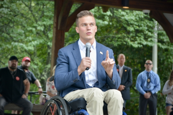 Madison Cawthorn speaks at an Aug. 15 event in Sylva.