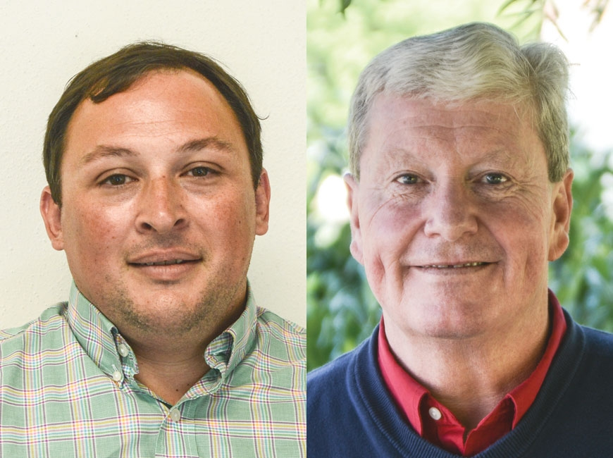 Sapphire resident Mark Letson (left) currently serves on three appointed boards and is now seeking his first elected position. Cashiers resident Mark Jones (right) served as the District 4 commissioner from 2006 to 2016 and is looking for another four years on the board. Holly Kays photos