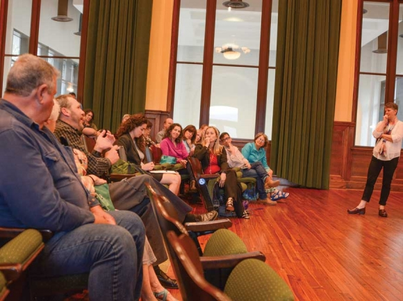The Asheville Design Team takes questions from community members present at the April 17 meeting. Holly Kays photo