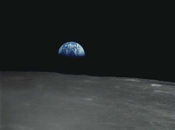 The Apollo 16 crew captured this Earthrise with a handheld Hasselblad camera during the second revolution of the moon. NASA photo