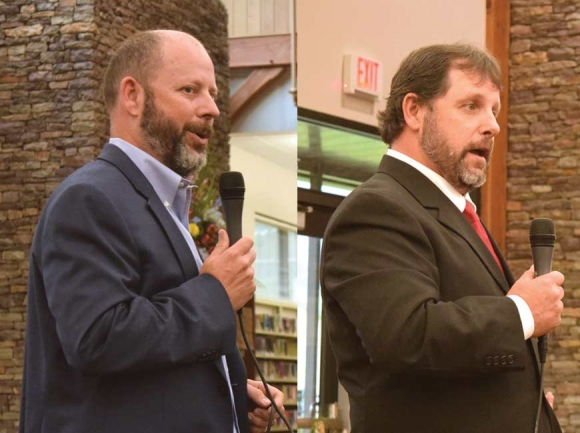 Commissioner Jim Tate (left) and challenger John Shearl.