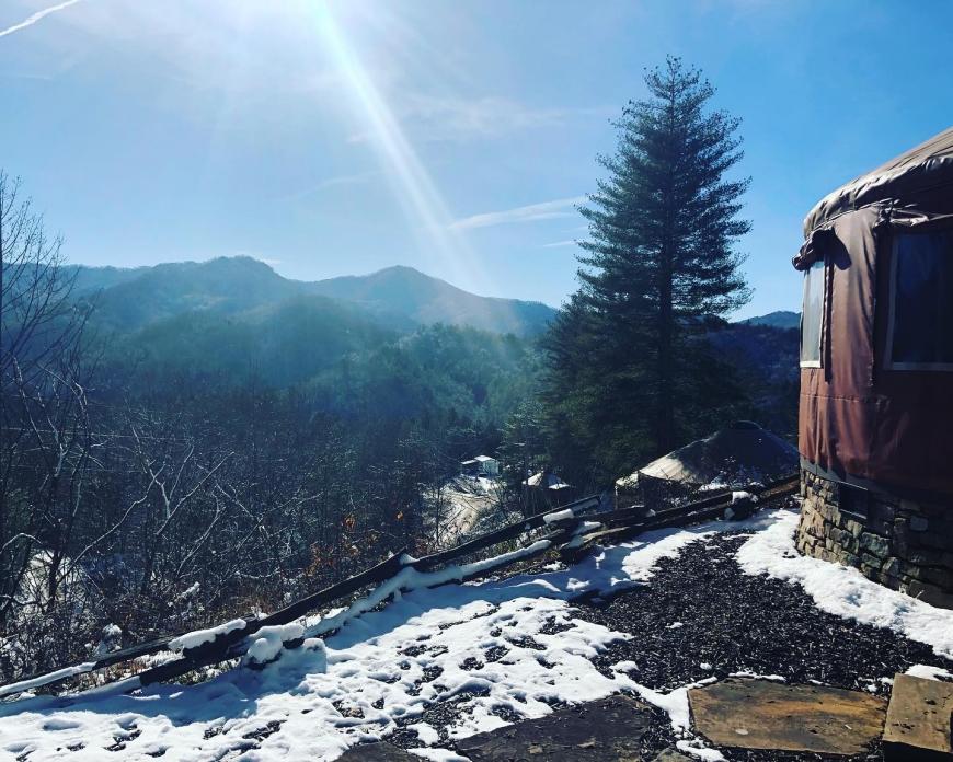 The view from outside the Nantahala yurt at Sky Ridge Yurts.
