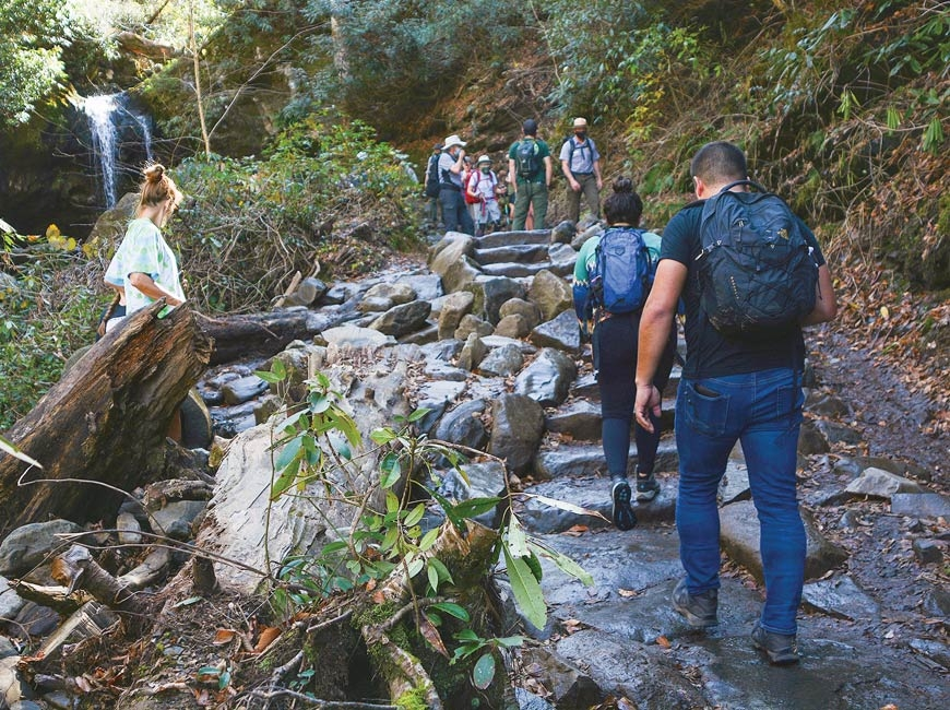 Before noon on a November Tuesday, the area surrounding Grotto Falls is already busy. Holly Kays photo