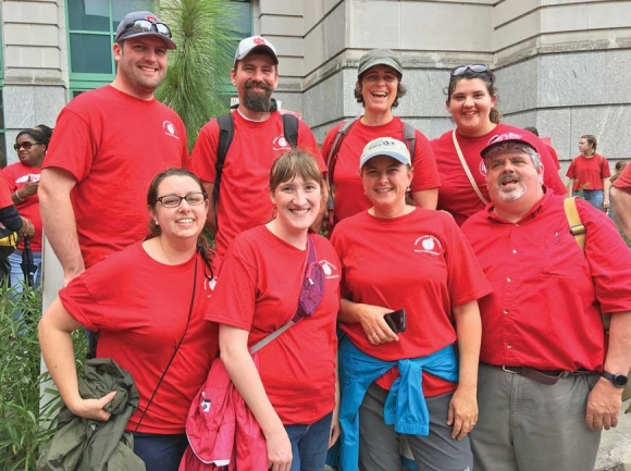 A group of teachers from Macon County made the five hour trip to Raleigh in 2018 to be part of the rally. Donated photo