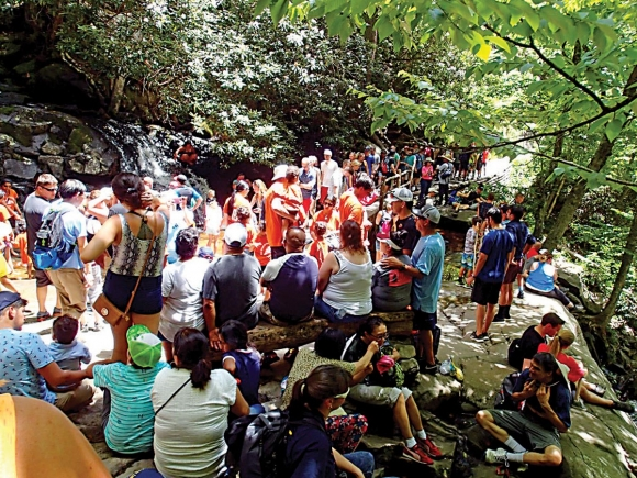 Crowded conditions are typical at Laurel Falls, which is located 1.3 miles past the trailhead. NPS photo