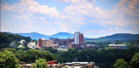 View of HCA Mission Hospital campus, Asheville