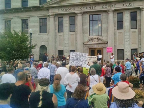 Down Home NC holds a rally at the Haywood County Historic Courthouse. Donated photo