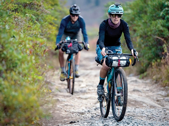 A pair of cyclists cruise WNC trails riding bikes outfitted with parts made by Asheville-based company Industry Nine. Industry Nine photo