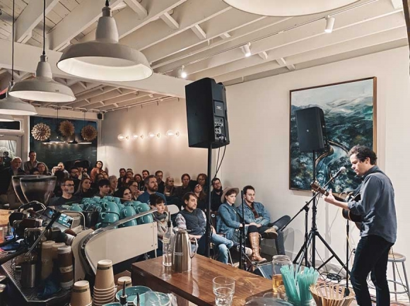 Ryan O'Keefe of River Whyless performing last weekend at Orchard Coffee in Waynesville. (photo: Cabell Tice)