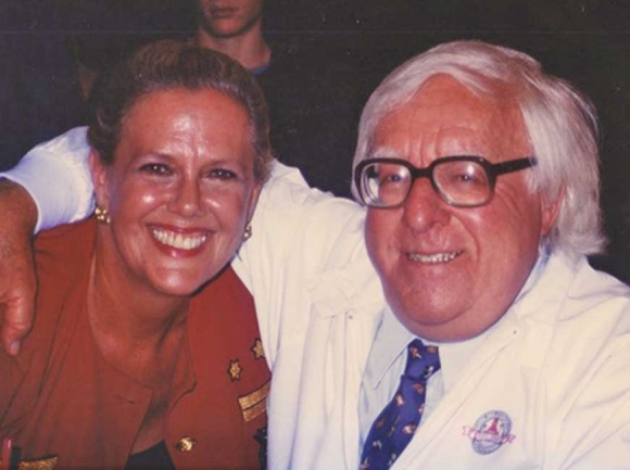Royal Phillips (above, with author Ray Bradbury) engaged in a relationship with a Catholic priest. Donated photos