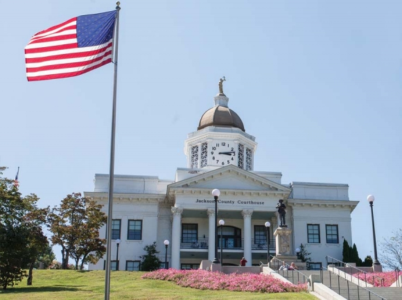 The picturesque old courthouse in Jackson County attracted FOX sports filmmakers to Sylva. Joe Pelligrino photo