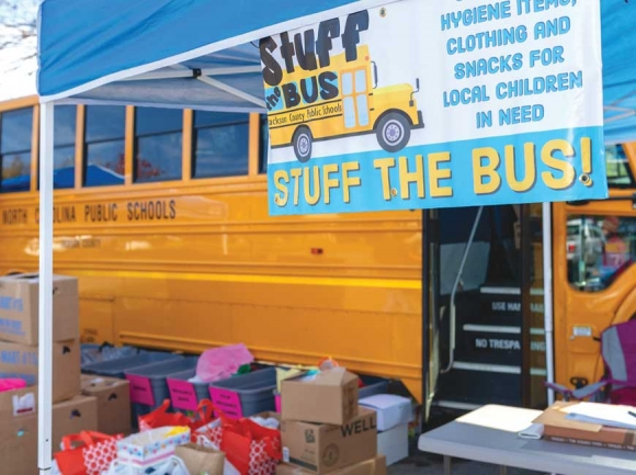 Jackson County's upcoming Stuff the Bus fundraiser aims to collect food, cash and hygiene products for students in need. JCPS photo