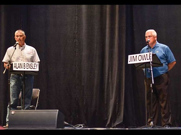 "Candidates Alan ""B"" Ensley (left) and Jim Owle speak on the issues during a debate held June 27. Holly Kays photo"