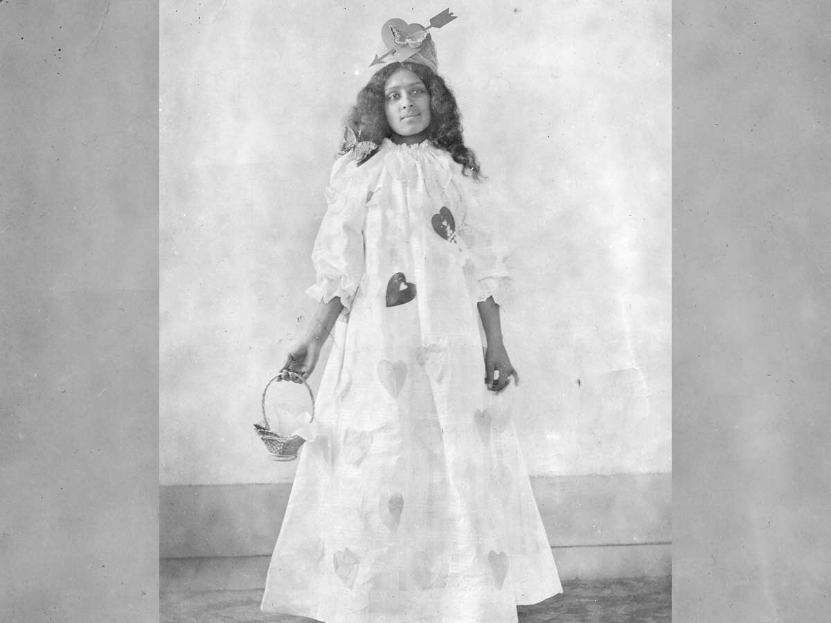 A young girl dresses in a Valentine's Day costume. Blount County Library photo