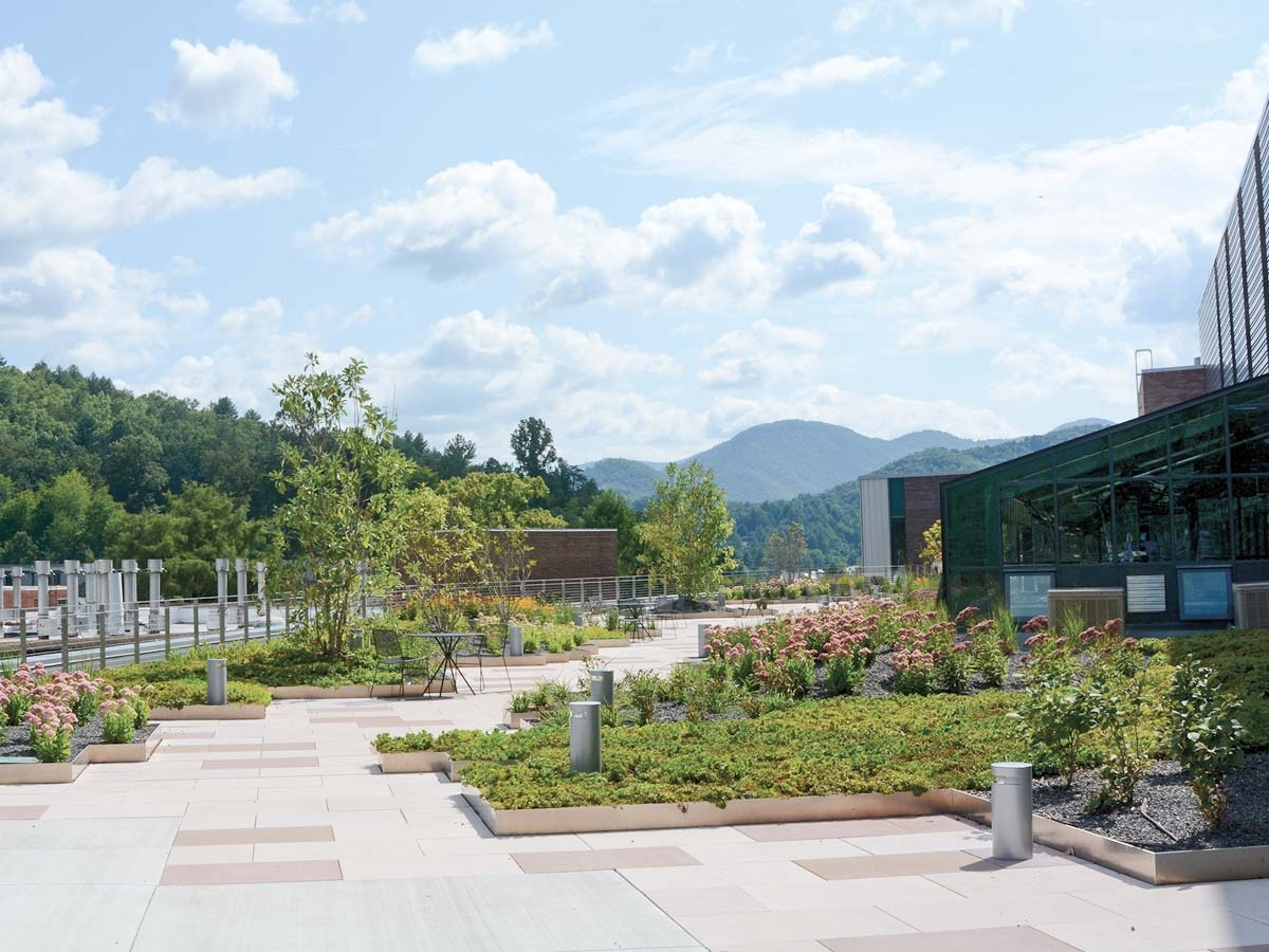 A rooftop terrace offers sweeping views of campus, native plant gardens and a convenient spot for astronomy observations. Holly Kays photos