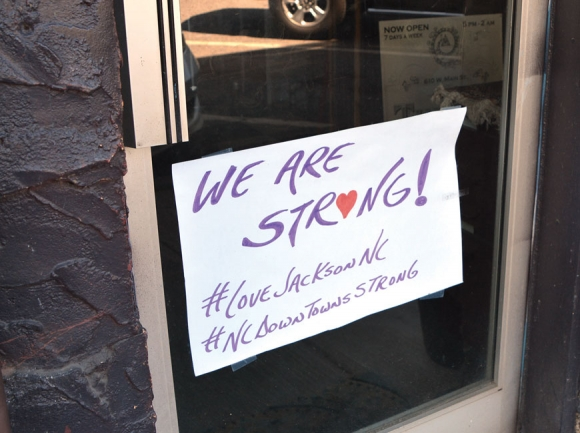Businesses in downtown Sylva are showing unity with the #LoveJacksonNC hashtag. Cory Vaillancourt photo