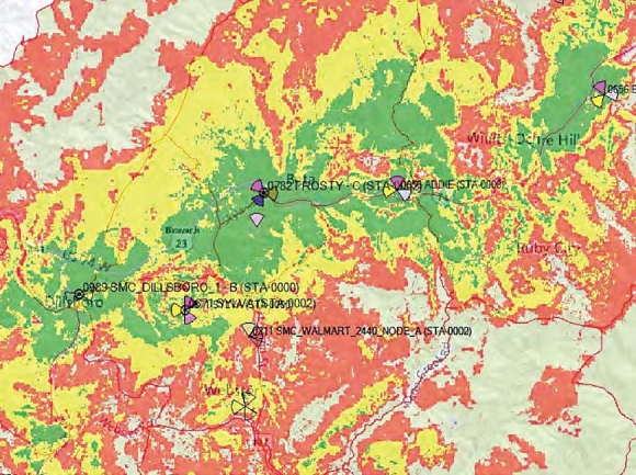 """If constructed, the new cell tower — which is named """"Frosty"""" and shown toward the center of the map — would significantly increase LTE service in Sylva and surrounding areas, according to projections from Verizon. Verizon map"""