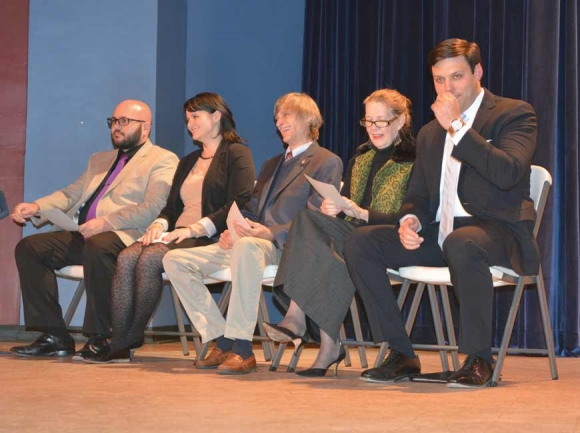 Canton's board of aldermen/women James Markey (from left), Kristina Smith, Dr. Ralph Hamlett and Gail Mull sit onstage with Mayor Zeb Smathers (far right) at the Colonial Theater in November 2017. Cory Vaillancourt photo