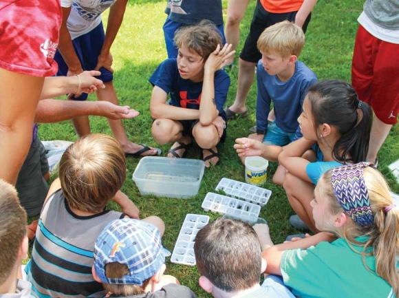 Campers get a hands-on lesson about aquatic organisms. Donated photo