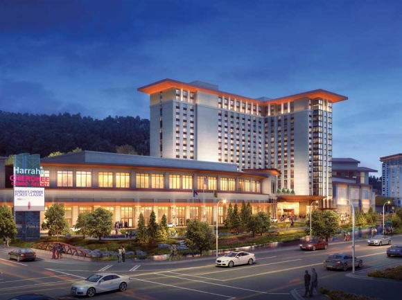 This $250 million expansion, expected to be complete in early 2021, will add 750 hotel rooms, a parking deck and 83,000 square feet for event space to Harrah's Cherokee Casino Resort. Donated rendering