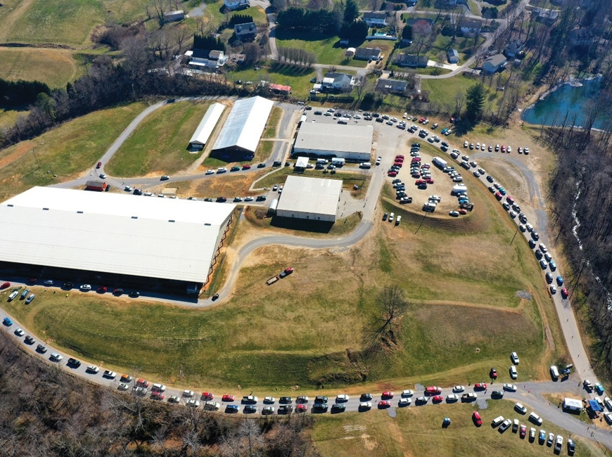 An aerial shot shows the massive COVID-19 vaccination clinic happening at the Smoky Mountain Event Center in Haywood County. File photo