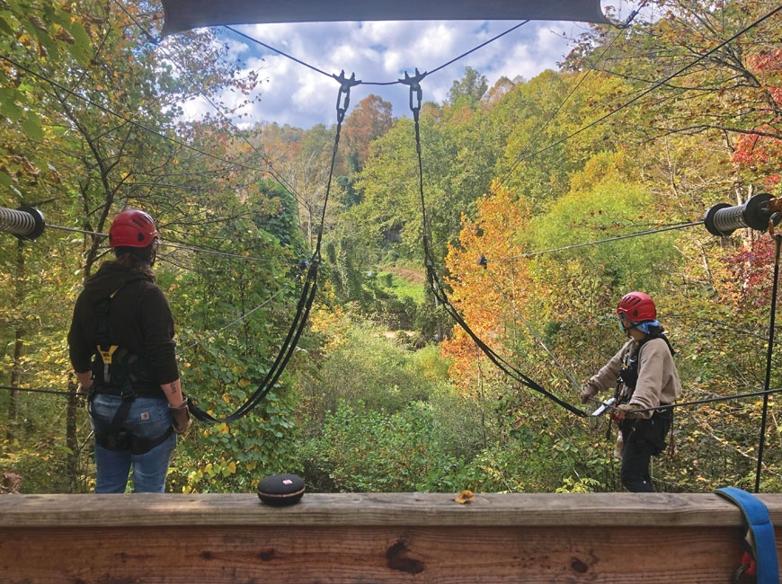 Mask-wearing customers go for a zip line adventure at Nantahala Outdoor Center. NOC photo