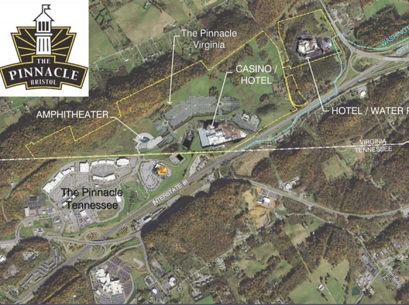 The existing Pinnacle retail complex is in Tennessee, while the proposed casino complex would be just over the state line in Virginia. Donated map