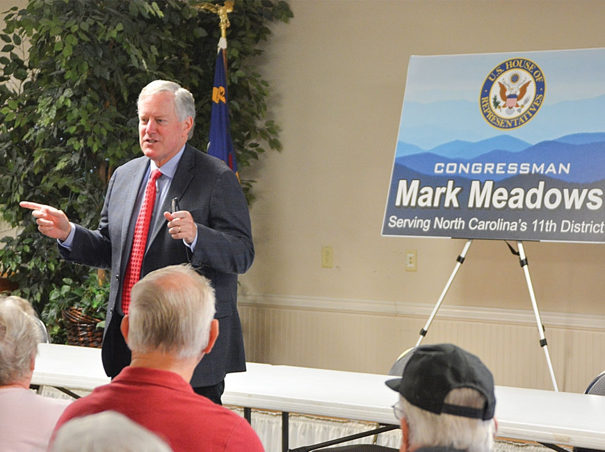 Former NC11 Congressman Mark Meadows speaks to veterans at the Haywood County Senior Resource Center in August, 2018. Cory Vaillancourt photo