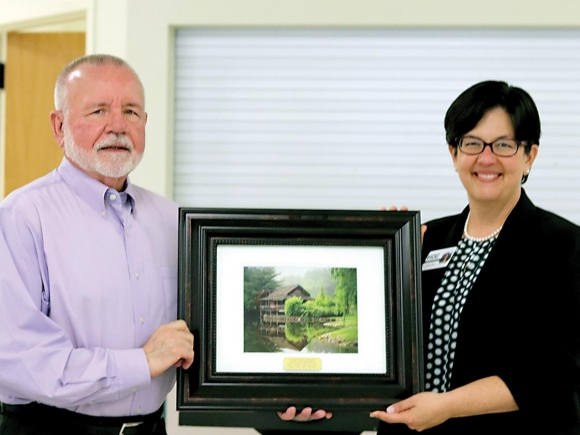Pictured with Marshall is HCC President Dr. Shelley White. Michelle Harris photo