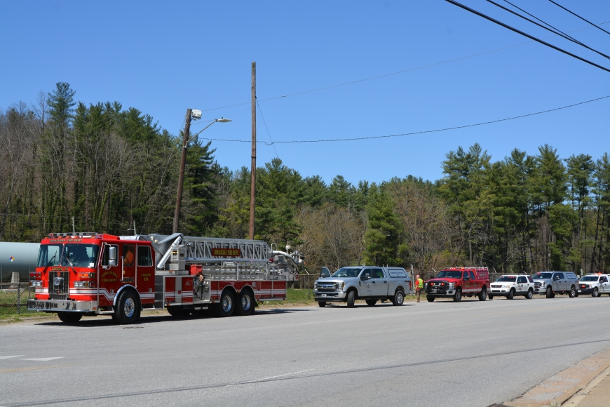 Responding from a number of jurisdictions, emergency vehicles lined up outside the mill's gates.