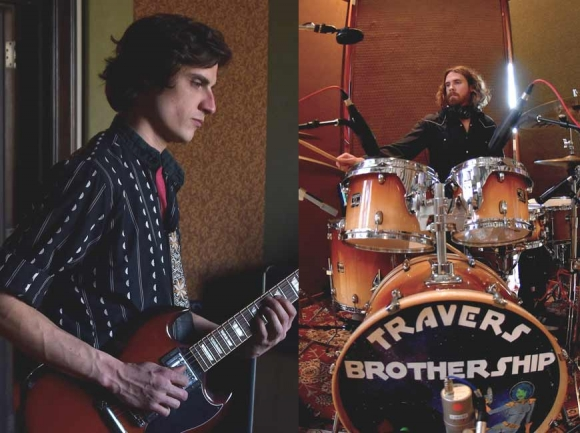 Kyle (left) and Eric (right) Travers of the Travers Brothership at Echo Mountain Recording Studio in Asheville this past winter. Garret K. Woodward
