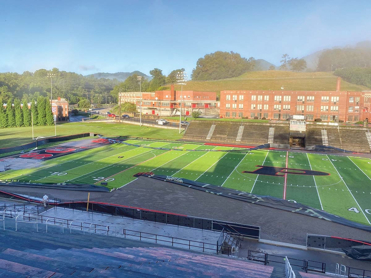 The AstroTurf was damaged at Pisgah Memorial Stadium following Tropical Storm Fred. Greg Boothroyd photo
