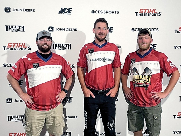 Current and former Haywood Community College students Alec Parsons (from left), Ben Knicely and Darby Hand recently competed at the STIHL Timbersports US Championships in Little Rock, Arkansas. Donated photo