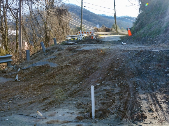A trouble spot that appeared last spring is more severe than the area near Bobwhite Lane, requiring closure of a portion of the road since April 2020. Holly Kays photo