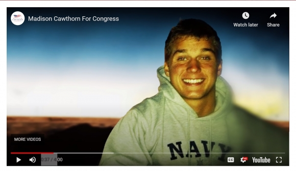 """A campaign video says Cawthorn """"planned on serving his country in the Navy with a nomination to the U.S. Naval Academy in Annapolis. But all that changed in the spring of 2014 when tragedy struck."""""""