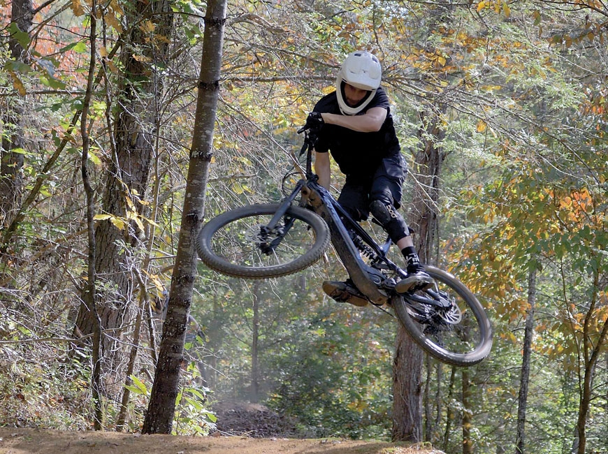 A biker takes a jump at a bike park similar to the one Alvo envisions for Canton. Seth Alvo photo
