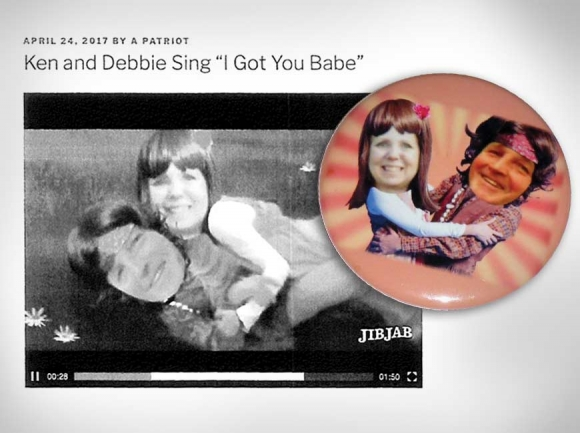 Left: Exhibit D-4 as presented by HCGOP Vice Chair Debbie King, who is suing members of the Haywood Republican Alliance over unauthorized use of her likeness. Right: HCGOP Vice Chair Debbie King (left) and Chairman Ken Henson depicted as 1970s pop duo Sonny & Cher on a button at the center of a lawsuit by King. Donated photo