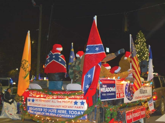 Participants display the Confederate flag during last year's Canton Christmas parade. Cory Vaillancourt photo