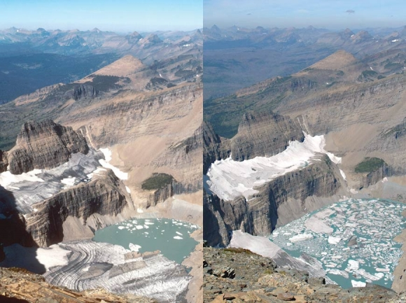 Grinnell Glacier in Glacier National Park in 1981 (left) and 2009 (right). Creative Commons