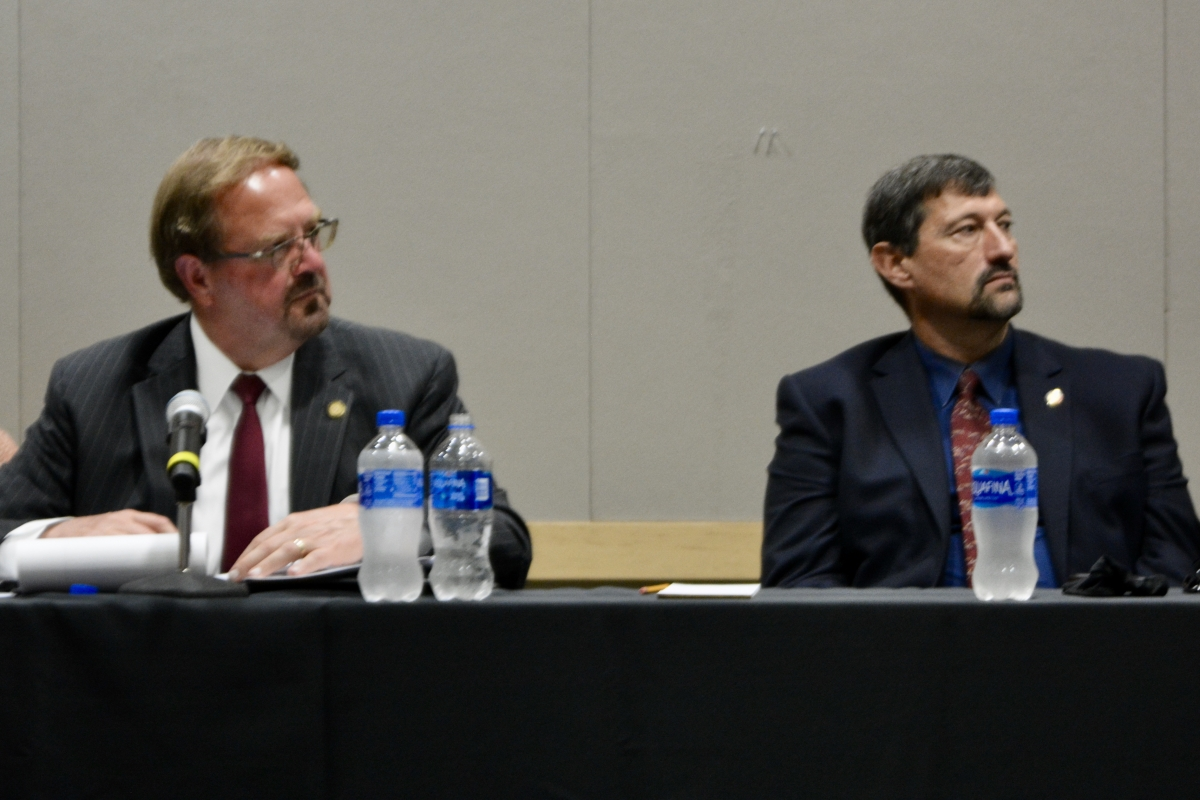 Sen. Chuck Edwards (left) and Rep. Mark Pless entertain public comment at a Sept. 21 redistricting hearing.