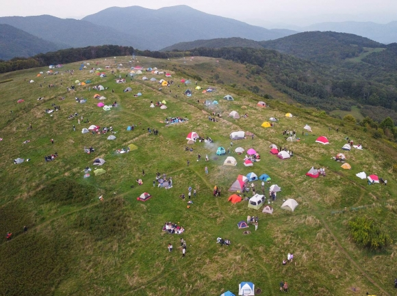 About 130 tents dot the top of Max Patch in a viral photo taken by Mike Wurman on Saturday, Sept. 19. Mike Wurman photo