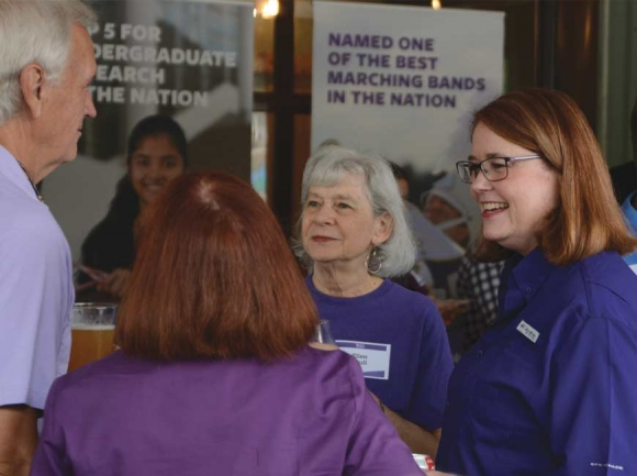 Brown greets community members during a welcome event held Aug. 19 at Innovation Station in Dillsboro. Holly Kays photo