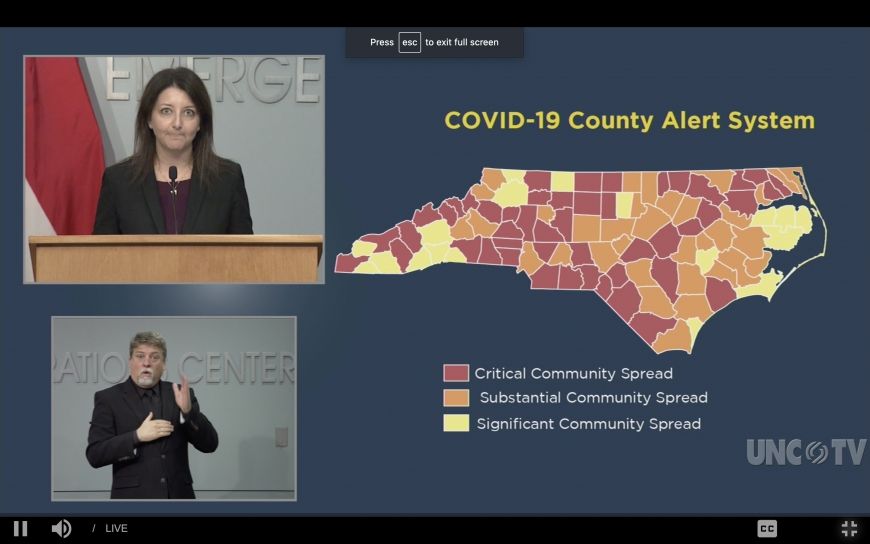 NCDHHS Secretary Dr. Mandi Cohen presents the state's increasing COVID-19 numbers during a Dec. 8 press conference.