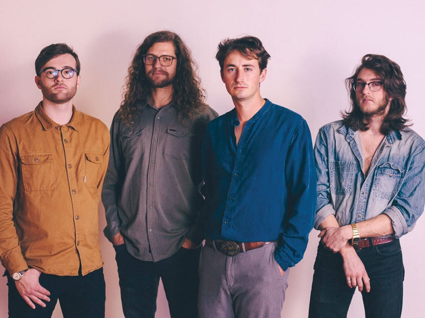 Pink Beds is an Asheville-based indie rock band. From left, the group consists of Logan Hall, Ryan Sargent, Aaron Aiken and Jackson Van Horn. (photo: Daniel Barlow)