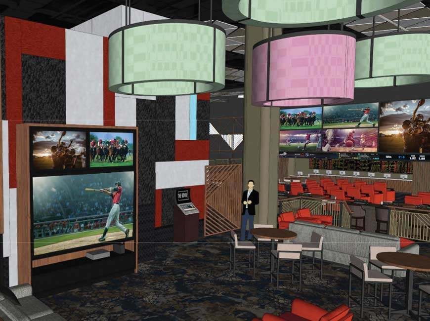 Screens will be key at The Book, the new sports betting lounges planned for casinos in Cherokee and Murphy. JCJ Architecture rendering